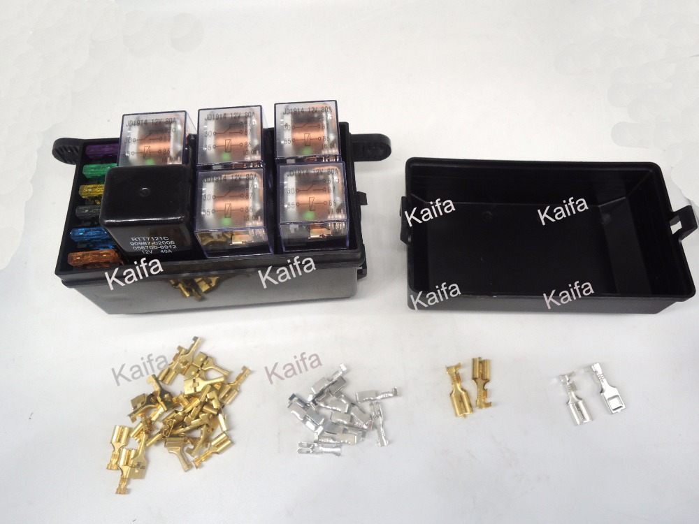 Car seat relay fuse box relay holder 5 engine compartment insurance holder include 5 relay 12V 80A and 1relay 12V 40A 6 way auto fuse box assembly with 1pcs 4p12v 40a 5pcs 4pin 24v 40a relay and fuses power modification distributor assembly relay