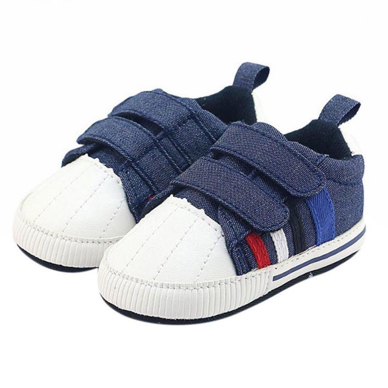 New Denim Jeans Double Touch Strap Pram Shoes Baby Boy Sports Sneakers Toddler First Walkers Navy Girls Casual Baby Shoes