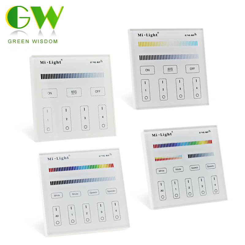 Controlador de Panel inteligente Mi.Light para RGBW /RGB + CCT/solo Color/tira de Led blanca Dual/Panel de luz/bombillas Panel táctil B8 montado en la pared; Atenuador RF remoto FUT089 de 8 zonas; Controlador led inteligente LS2 5 en 1 para RGB + CCT, tira led Miboxer