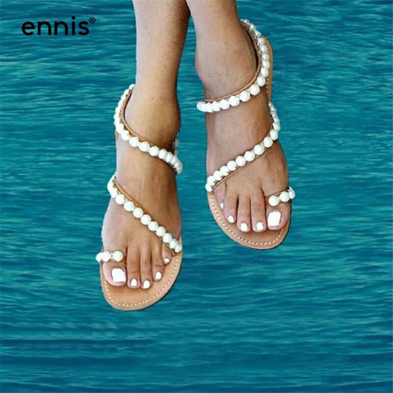 ENNIS 2019 Bohemia Summer Shoes Flat Pearl Sandals Women Slides Flip Flops Sandals Flats Genuine Leather