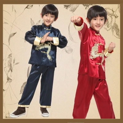 Top+ Pants Long Sleeve Dragon Boy Kung Fu Costume Chinese Traditional Costume Children Chinese Tang Folk Clothing For Party 89