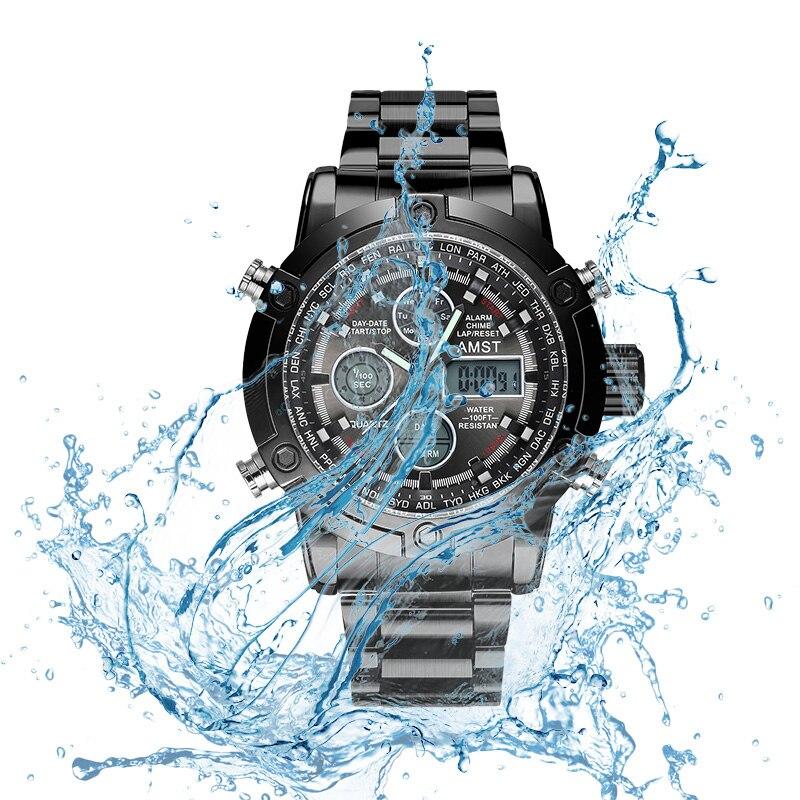 Cool Men Wrist Watch Quartz LED Double Movement 50 Meters Waterproof Life Men Watch Sport Multi founction with an electron