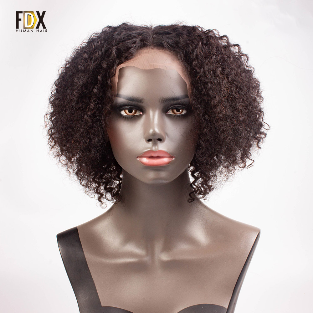 FDX short curly human hair wig lace front wigs for black women Brazilian Nartural Color jerry