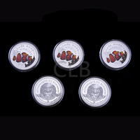 Wholesale Sea's Amazing Wildlife Clown Fish Colorful Design Silver Coin  Republique Du Burundi Coin with Plastic Case for Gifts