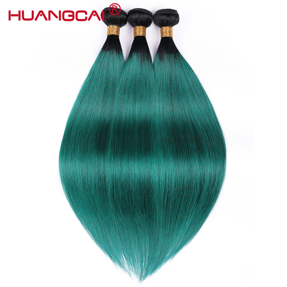 Ombre Brazilian Straight Hair Weave Bundles 3pcs 1b/ Green Two Tone Human Hair Bundles Remy Hair Extensions 3 Bundles Deal-in Hair Weaves from Hair Extensions & Wigs    1