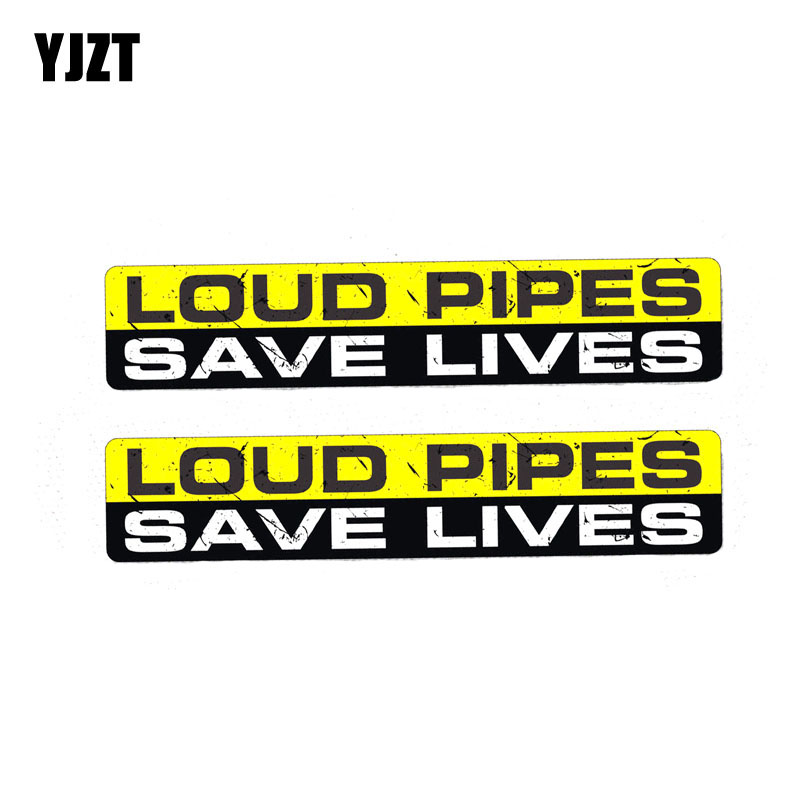 YJZT 2X 15CM*3CM Warning LOUD PIPES SAVE LIVES Funny PVC Car Sticker Body Decal 12-0019