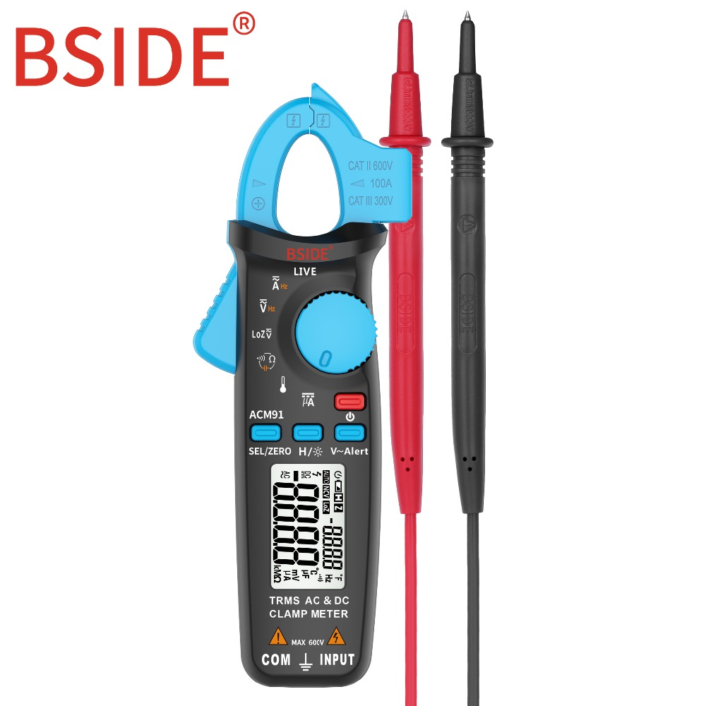 BSIDE Digital Clamp Meter AC/DC Current True RMS Auto-Ranging Multimeter Live Check NCV Temp Frequency Capacitor Tester ACM91 free shippin 5pcs lot new high quality blue mini digital clamp meter digital multimeter compare ms2008b for temp frequency meter