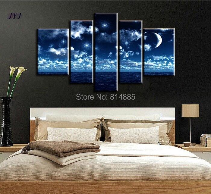Bedroom Painting Art Beautiful Night 100  Handmade Modern Abstract Oil Painting On Canvas Wall Art