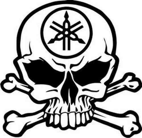 1pc free shipping dc00750 skull crossbones yamaha car sticker bumper