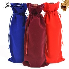 10pcs/lot Velvet Wine  Champagne Bottle Cover Bags Party Favors Jewelry Packaging&Display Drawstring Gifts Bag 16x38cm Pouches