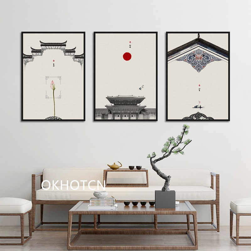 Chinese style Classical Architecture Lotus Red Sun Wall Art Canvas Painting Posters And Prints Wall Pictures For Living Room
