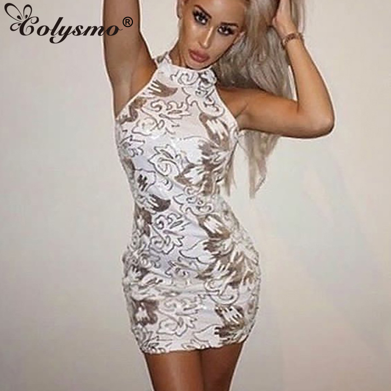 a10fe78768 Detail Feedback Questions about Colysmo Sleeveless Sexy Halter Floral White Sequin  Dress Sequined Evening Party Bodycon Dress Autumn Mini Club Dresses ...