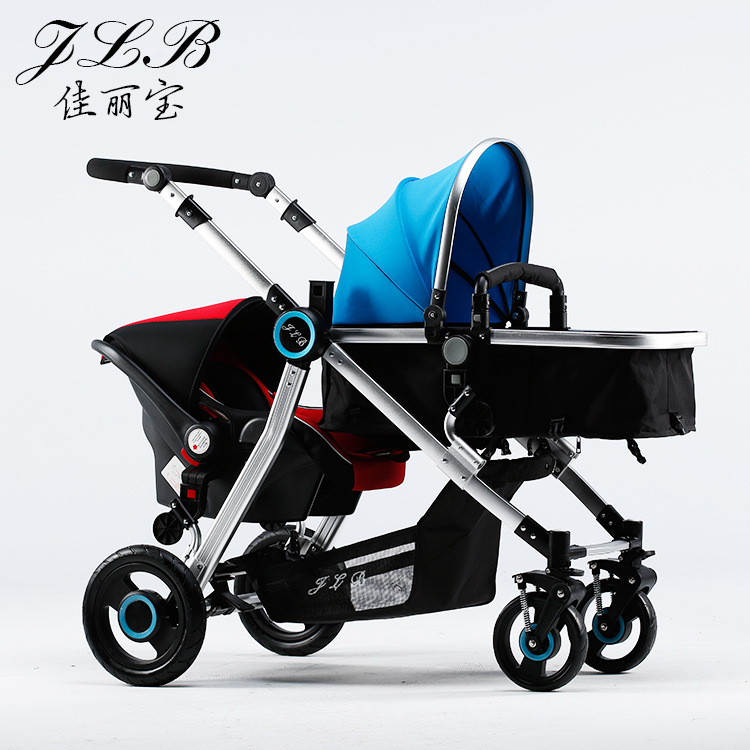 все цены на Babyfond Twins Stroller With car Seat the Newborn Can Lie and sit trolley Light Folding Umbrella carts