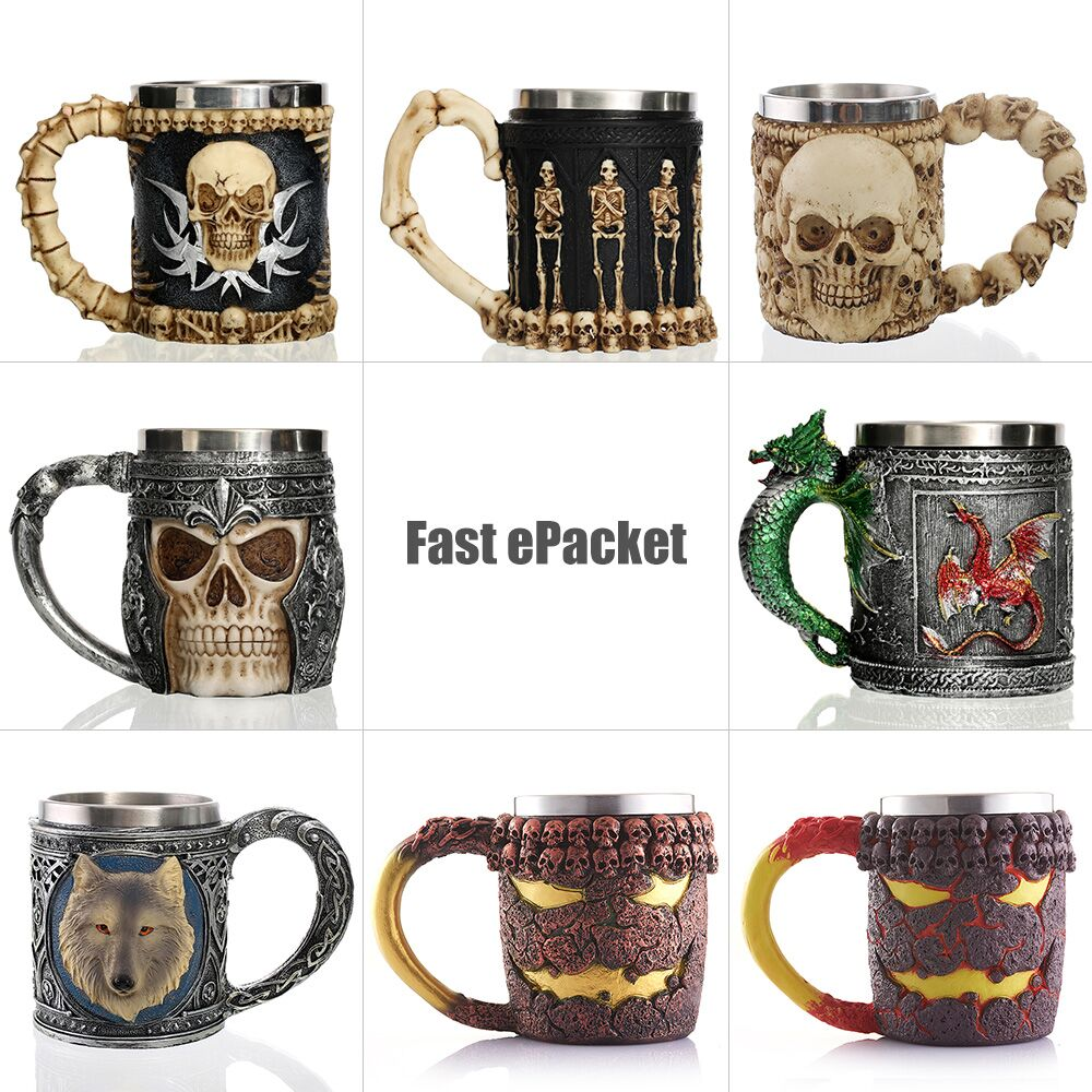 Personalized Skull Mug Double Wall Stainless Steel Knight Tankard Dragon Drinking Tea Beer Coffee Cup Caneca Viking Gift For Men