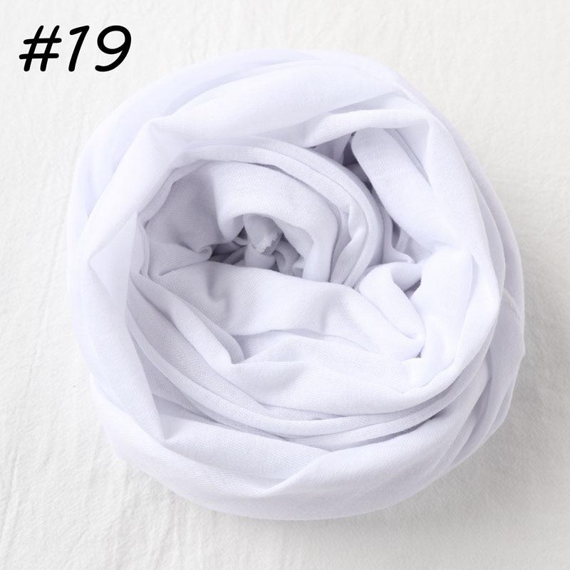 Один кусок Хиджаб Женский вискозный Джерси-шарф Мусульманский Исламский сплошной простой Джерси хиджабы Макси шарфы мягкие шали 70x160 см - Цвет: 19 white