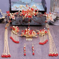 New Chinese red beads luxury hair pins comb sets Phoenix crown wedding accessories wholesale