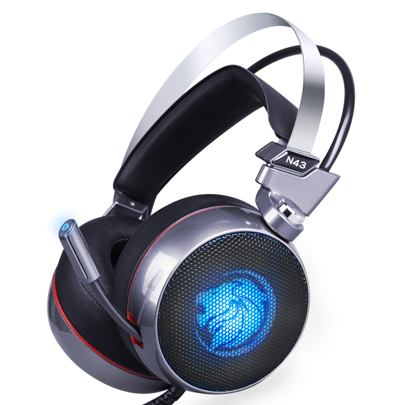 Lionny N43 Stereo Gaming Headset 7,1 Virtuelle Surround Bass Gaming Kopfhörer Kopfhörer mit Mic LED-Licht für Computer PC Gamer