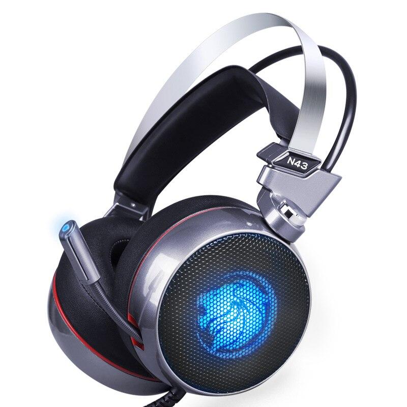 ZOP N43 auriculares para juegos estéreo Envolvente Virtual 7,1 Bass juego de auriculares con micrófono de luz LED para computadora PC Gamer