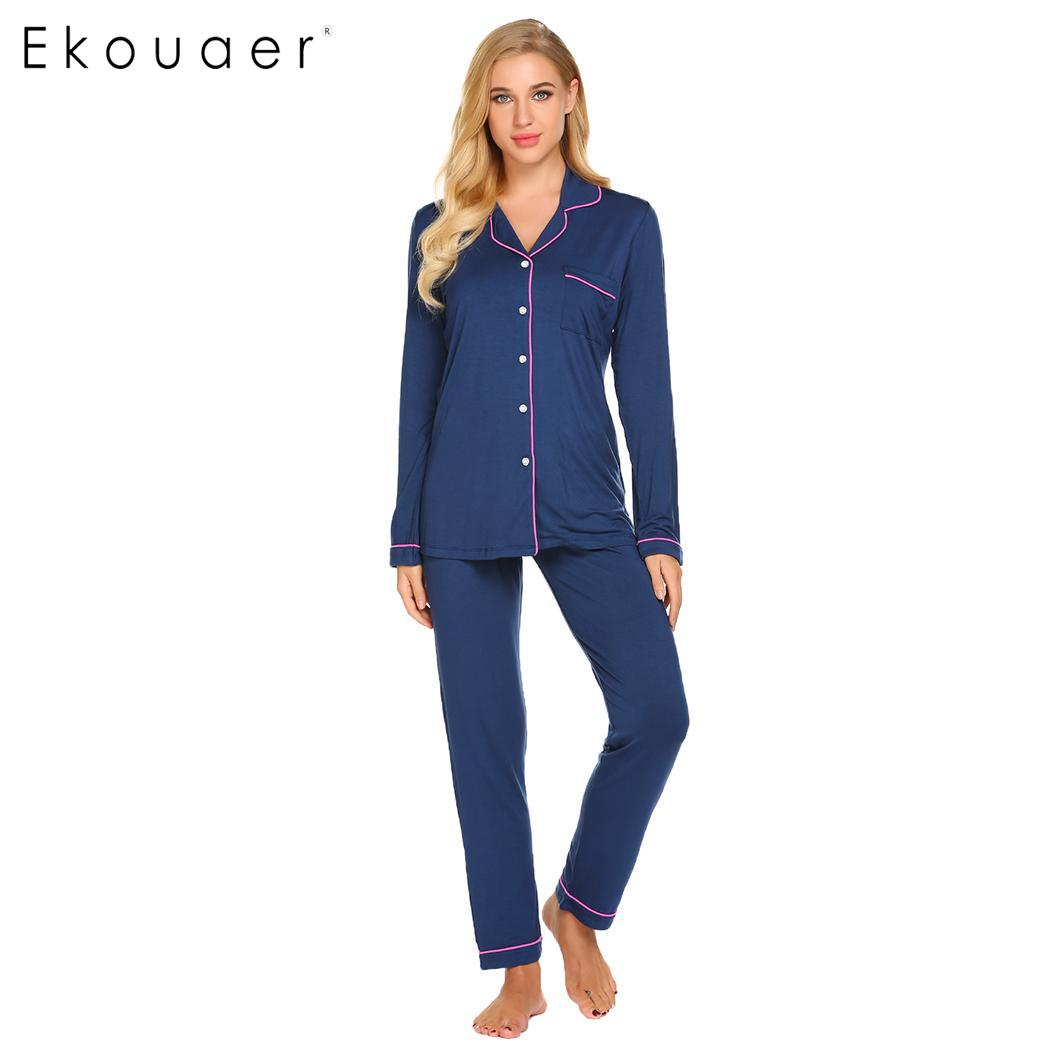 Ekouaer Women Long   Pajama     Set   Sleepwear Turn Down Collar Long Sleeve Shirts Elastic Drawstring Waist Pants   Pajamas   Home Suits