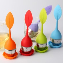 7 Colors Silicone font b Tea b font Strainer Sweet Leaf Pattern font b Tea b