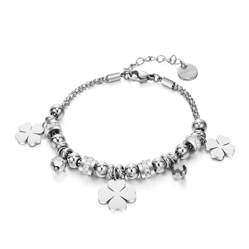 Stainless Steel Multi Beads Crystal Bracelet Heart Star Figure Tree of Life Four Clover Charms Bracelet Women 2019 Steel Jewelry(China)