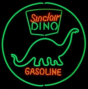 Custom Sinclair Dino Gasoline Glass Neon Light Sign Beer Bar