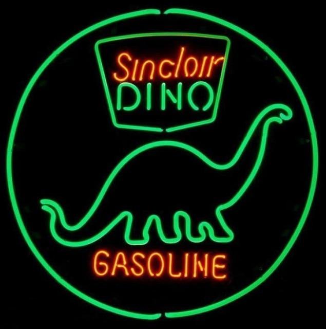 Custom Sinclair Dino Gasoline Glass Neon Light Sign Beer Bar