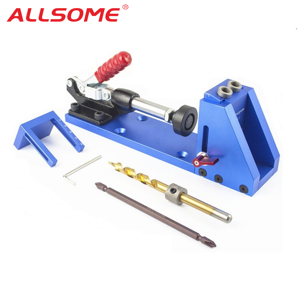 ALLSOME Pocket Hole Jig Drill Guide Joinery Woodworking Tool Kit Drilling Bit Wood lant hole Drilling