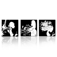 Black & White Girls Photos Canvas Prints Wall Art Home Decoration Living Room Pictures NO FRAME Canvas Set of 3