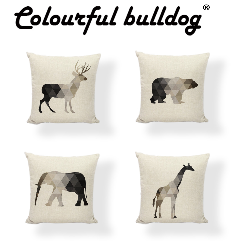 Dark Grey and Beige Geometric Splice Animals Cushion Cover 45*45cm Deer Bird Elephant Throw Pillow Case Decorative Living Room