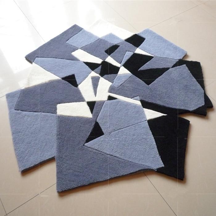 Черный белый серый ковер ковры и ковры для коврик для гостиной Европейский современный гостиная спальня ромбовидная решетка в форме
