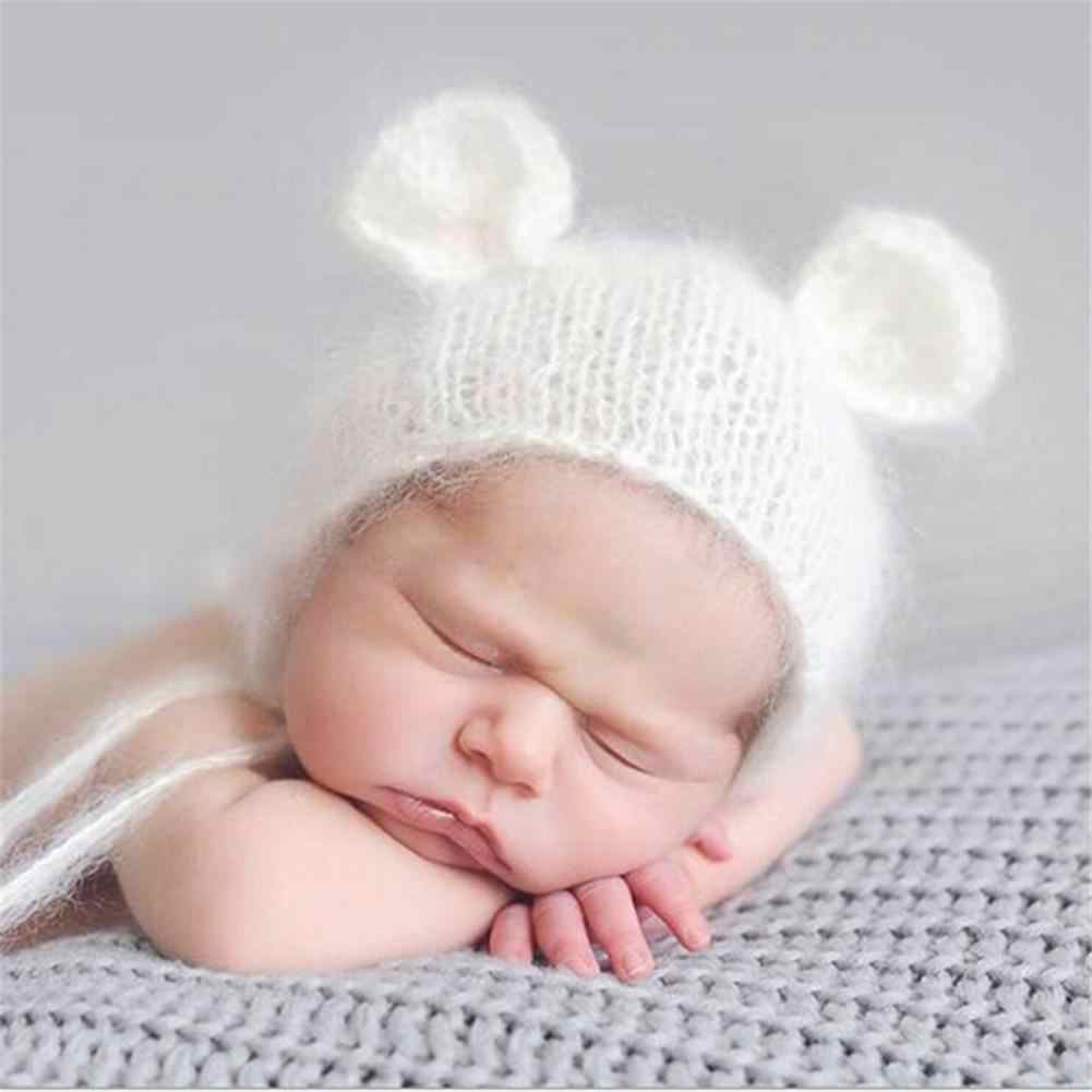 Cute Newborn Photography Props Baby Hat Baby Handmade Mohair Shape Cap Infant Photography Accessories