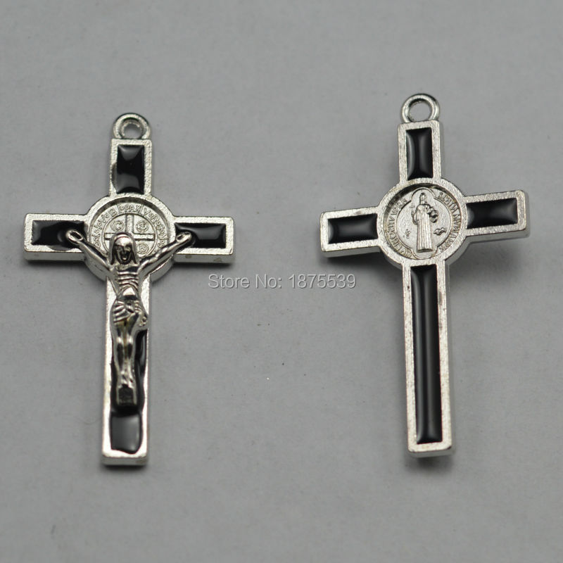 Free shipping black St benedict crucifix cross charm pendant used in rosary necklace