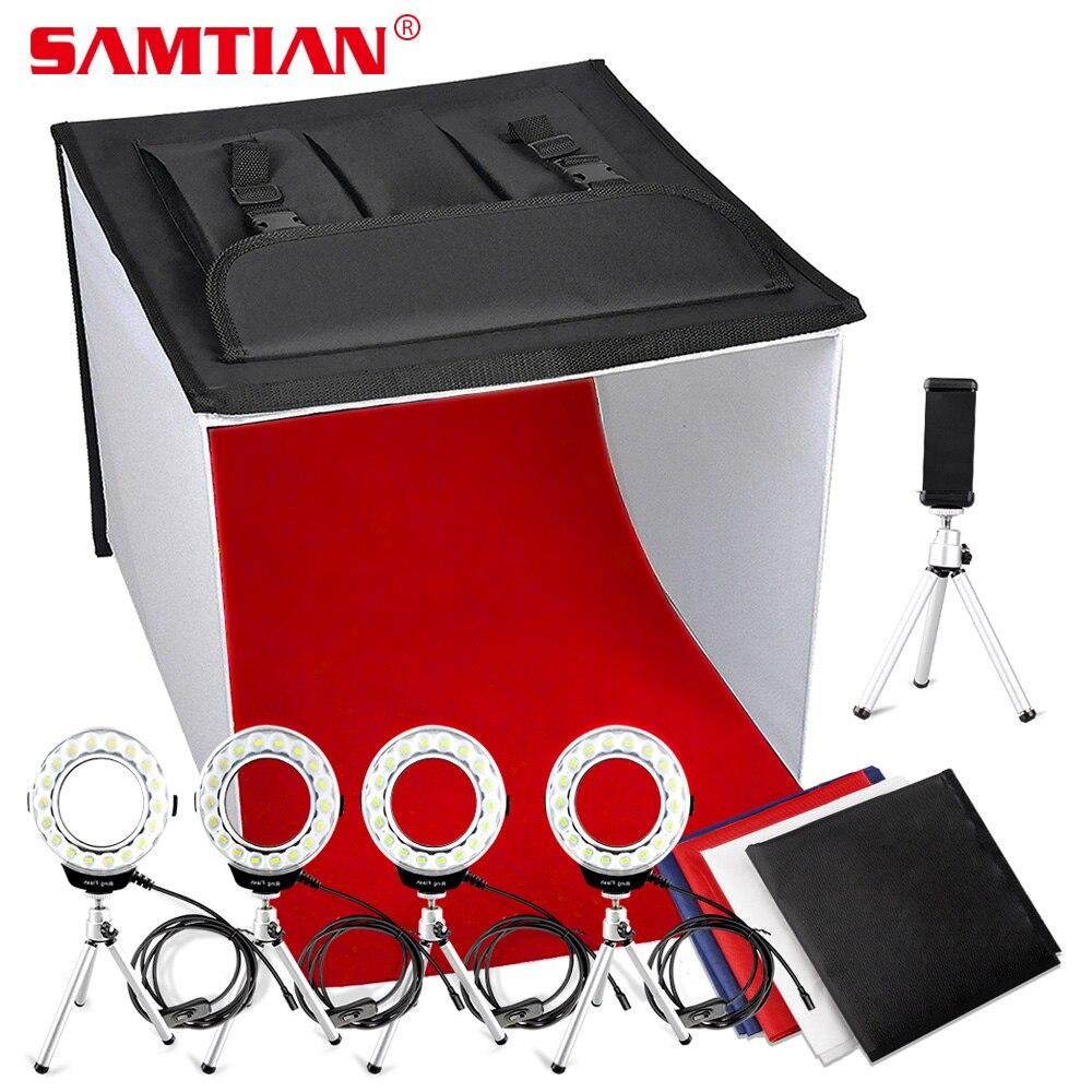 SAMTIAN K60II Pliable Photo Boîte LED Softbox Studio Boîte à Lumière 3200 k-9000 k CRI85 Lightbox pour Bijoux Photographie tir Tente