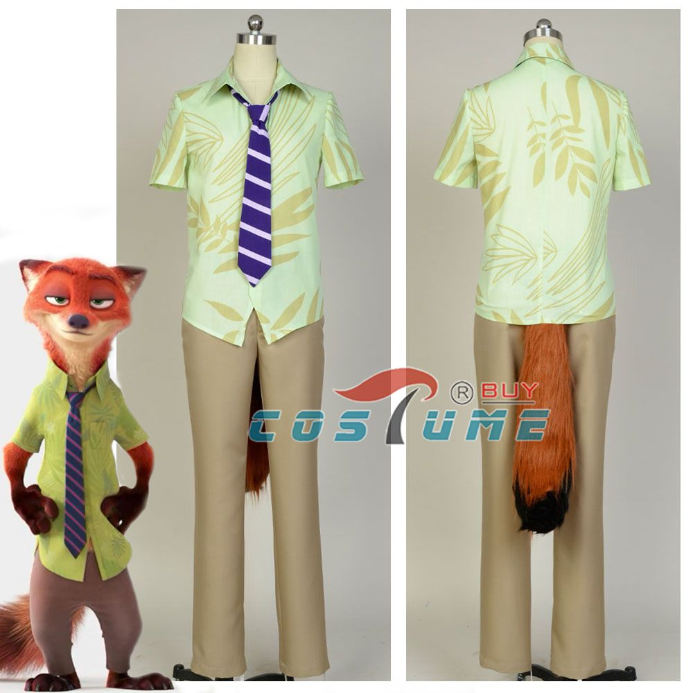 2016 Movie Zootopia Costume Vulpes Vulpes Nick Wilde Cosplay Costume Men Uniform with Fox's Plush Ear and Tail