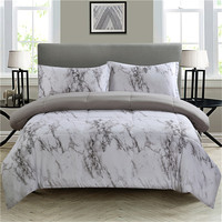 WINLIFE 3 PCS Marble Pattern Comforter Set Marble Quilt for Single Bed 3D Quilt Full/Queen