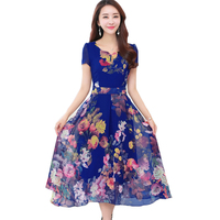 8 colors Summer Print Chiffon Dress Women 2018 New Bohemia Beach Dress Sexy Slim Plus Size 4XL Women Elegant Long Dresses Y48