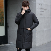 2019 New thick winter men's white down Jacket brand clothing hooded black Gary long warm white duck down coat male coats