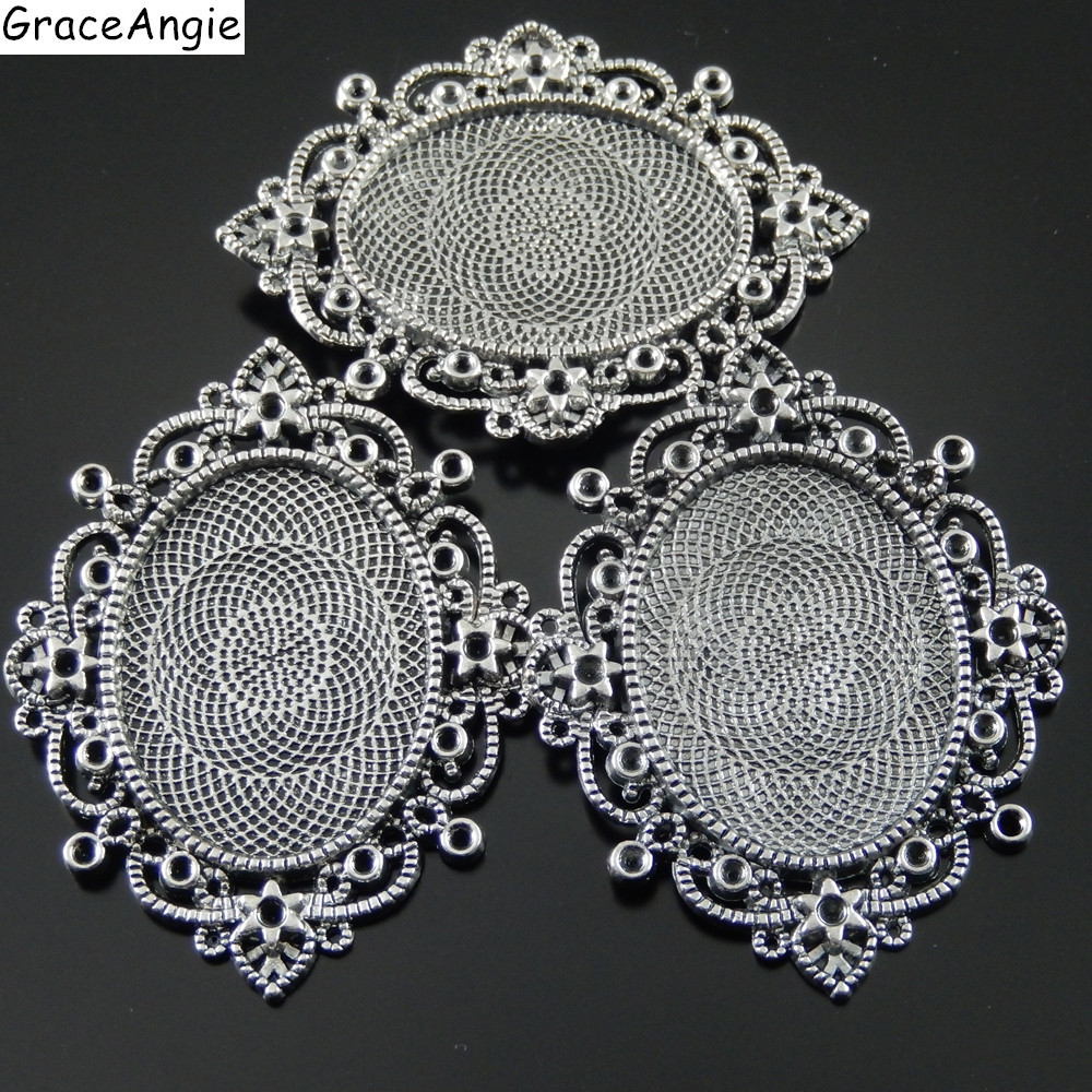 Tray 25MM Pandent Charm Antique Style Silver Tone Alloy Round Cameo Setting