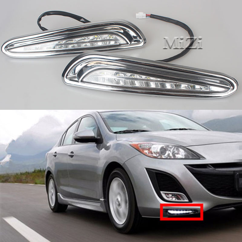 MZORANGE LED DRL Daytime Running Light Super Brightness Waterproof Chromed Cover 12V Car For Mazda 3 2010 2011 2012 2013 hot sale abs chromed front behind fog lamp cover 2pcs set car accessories for volkswagen vw tiguan 2010 2011 2012 2013