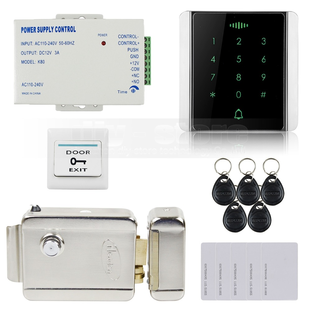 DIYSECUR 125KHz RFID Reader Password Keypad + Electric Lock Access Control System Security Kit diysecur lcd 125khz rfid reader password keypad access control door lock system kit electric bolt lock security system bc200