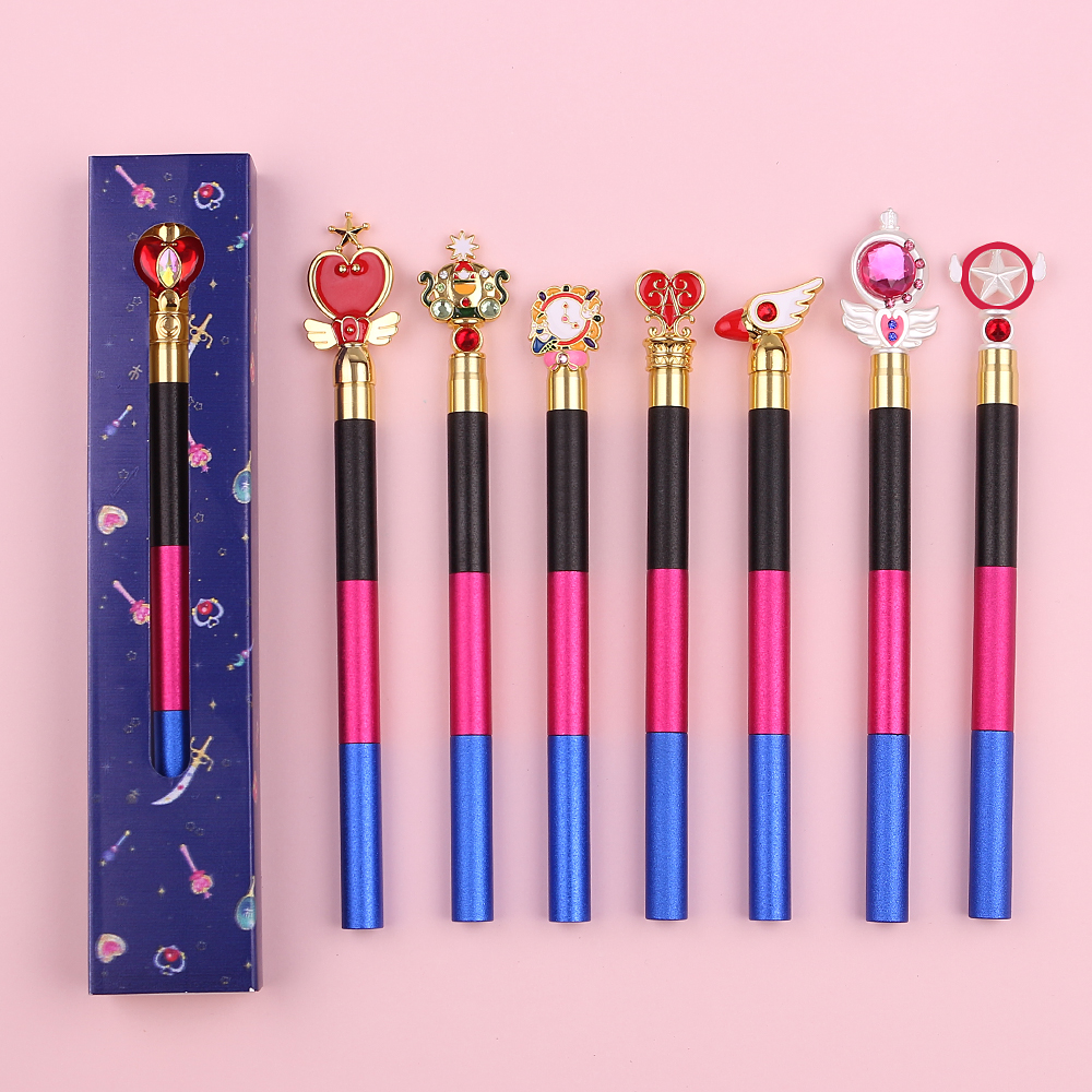Personalized Multi-Section Stitching Sailor Moon Anime Makeup Brushes Cute Cosmetic Eyeshadow Eyebrow Lipsticks Brush With Box