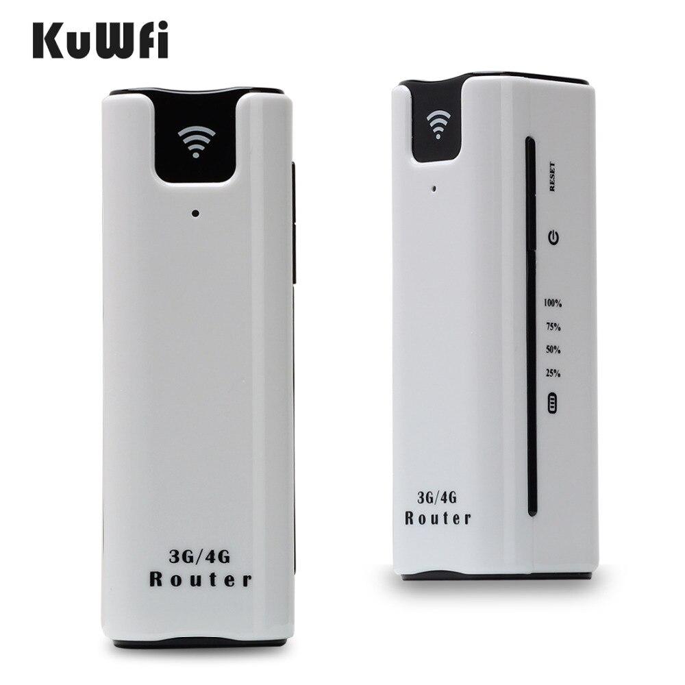 KuWFi 21.6Mbps Odklenjeno zunanje potovanje 3G Wifi usmerjevalnik Brezžični pametni mobilni usmerjevalnik WiFi Power Bank Router s režo za SIM kartico