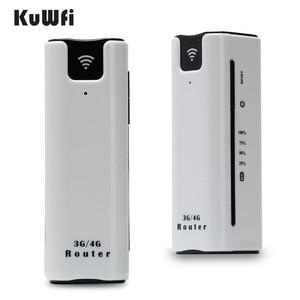 Image 1 - KuWFi 21.6Mbps kilidi açık seyahat 3G WIFI yönlendirici kablosuz akıllı mobil wifi router güç bankası sim kartlı router yuvası