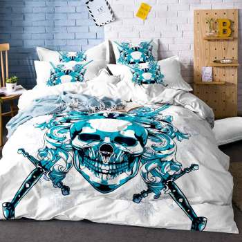Home Textiles Gothic Skull Floral Single Duvet Sheet Comforter Bedding Set King Size Soft Bedclothes Printed Luxury Linens E