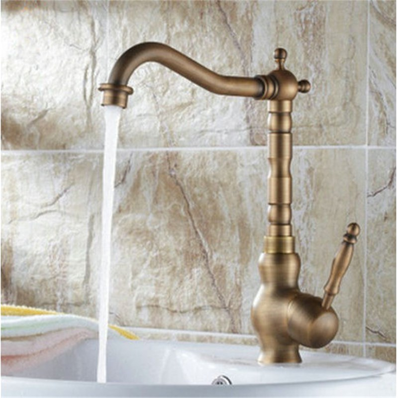 Sink Bathroom Faucet Single Handle Bathroom Faucet Basin tap Antique Brass Hot/Cold Water tap Deck Mounted Basin Faucets bathroom faucet brass orb finish faucets single handle tap sink faucet tap water water mixer deck mount bathroom faucet
