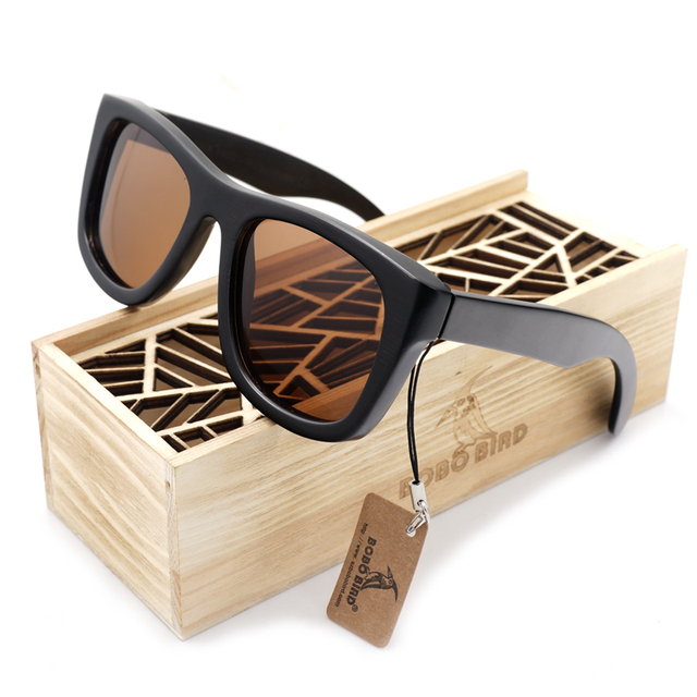 BOBOBIRD Brand Design G10 100% Nature Ebony Wooden Sun Glasses UV400 Tawny Polaized Lens Unisex Outdoor Goggles Sunglasses Male