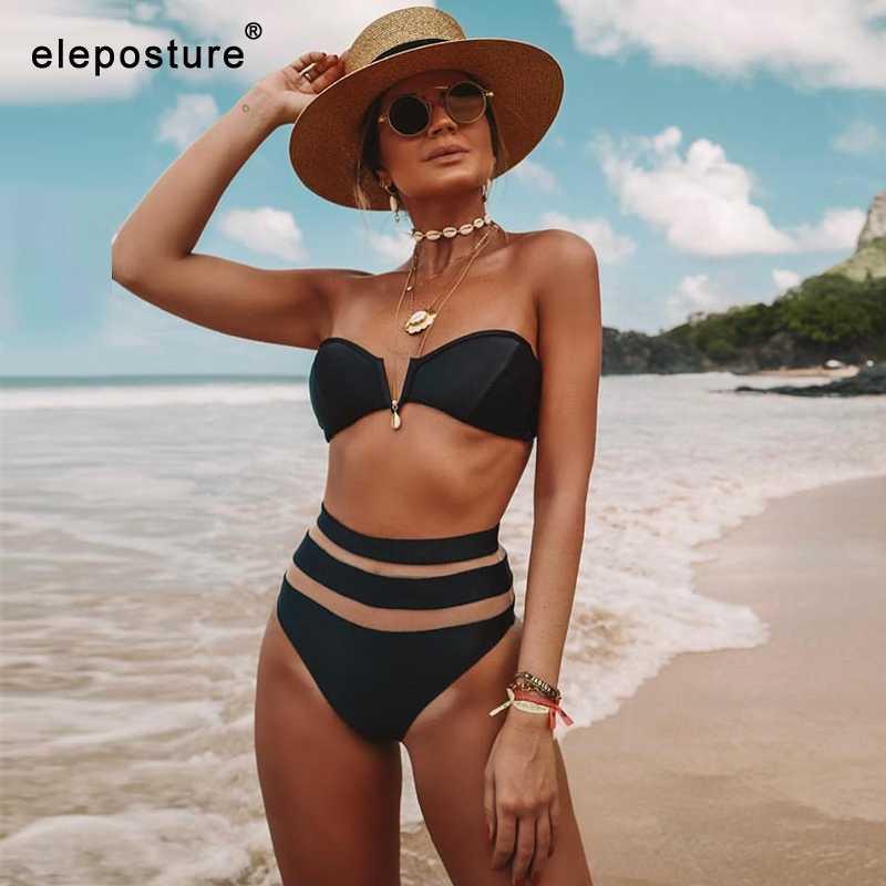 2020 nouveau Sexy taille haute Bikini femmes maille maillot de bain Push Up maillots de bain épaules nues Bikini ensemble solide maillot de bain été vêtements de plage