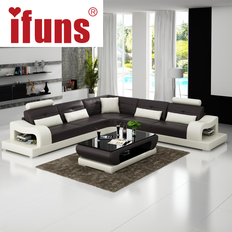 Popular leather corner chaise buy cheap leather corner for Sofas modernos en l