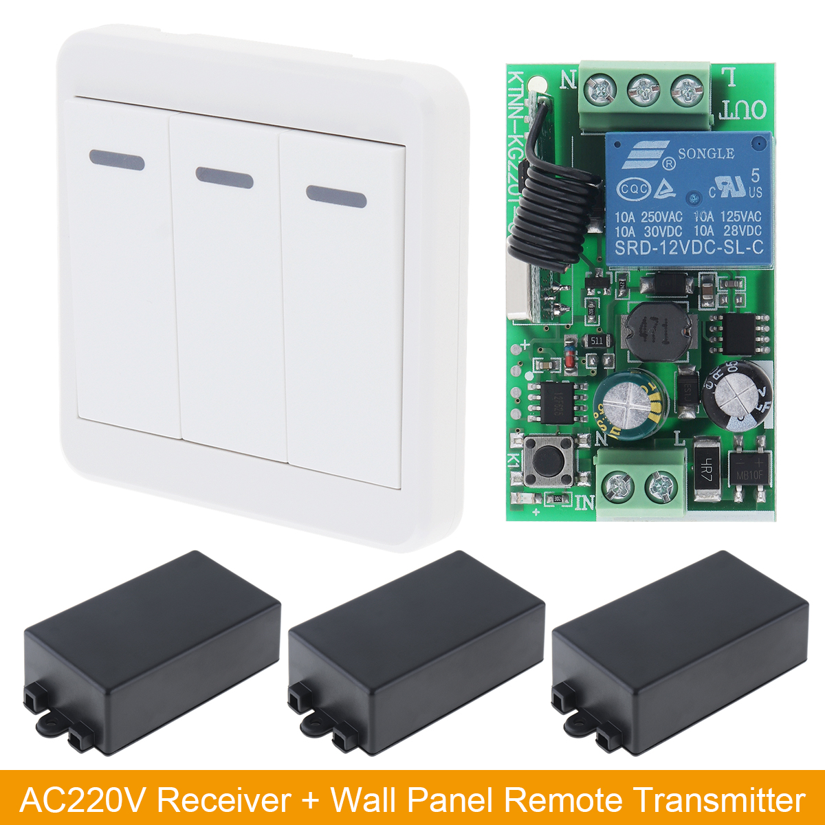 New Wireless AC 220V Remote Control Switch Receiver Wall Panel Remote Transmitter for Lamp Switch and Lighting Device Control